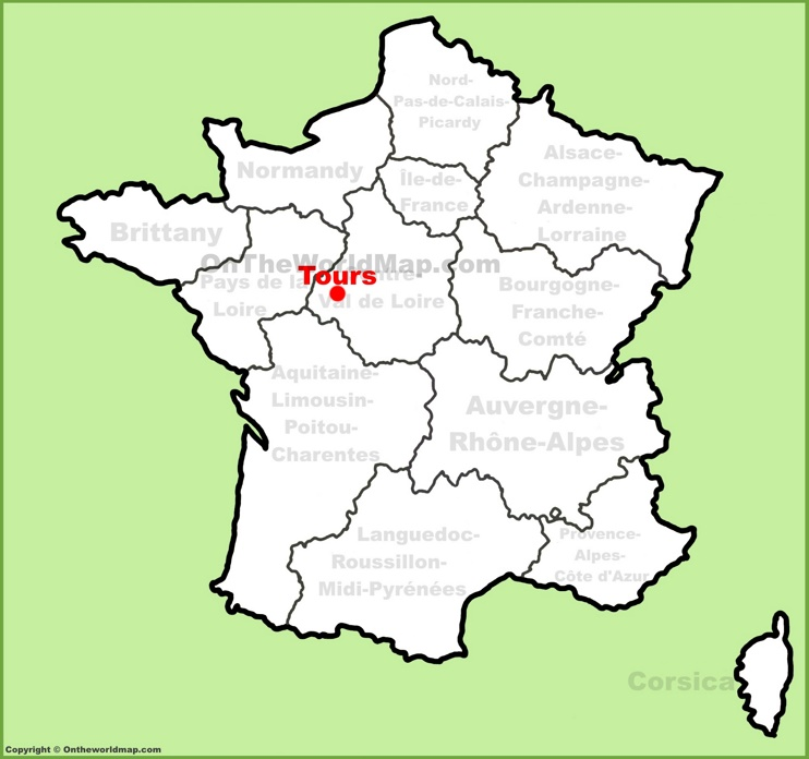 Tours location on the France map