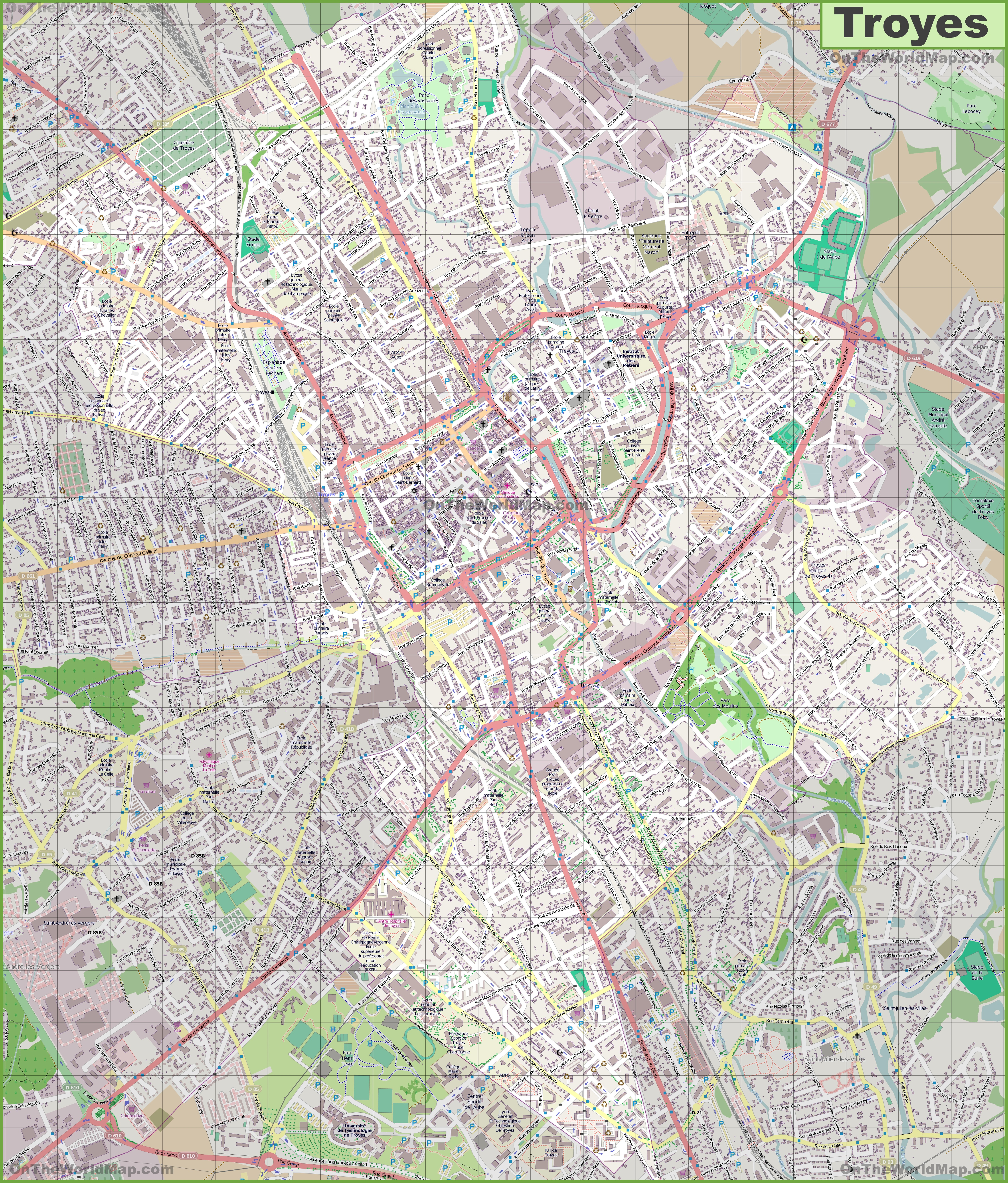 Large detailed map of Troyes