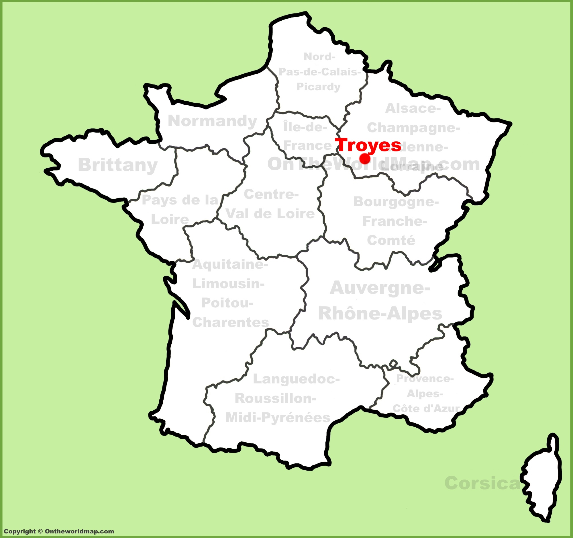 Troyes location on the France map