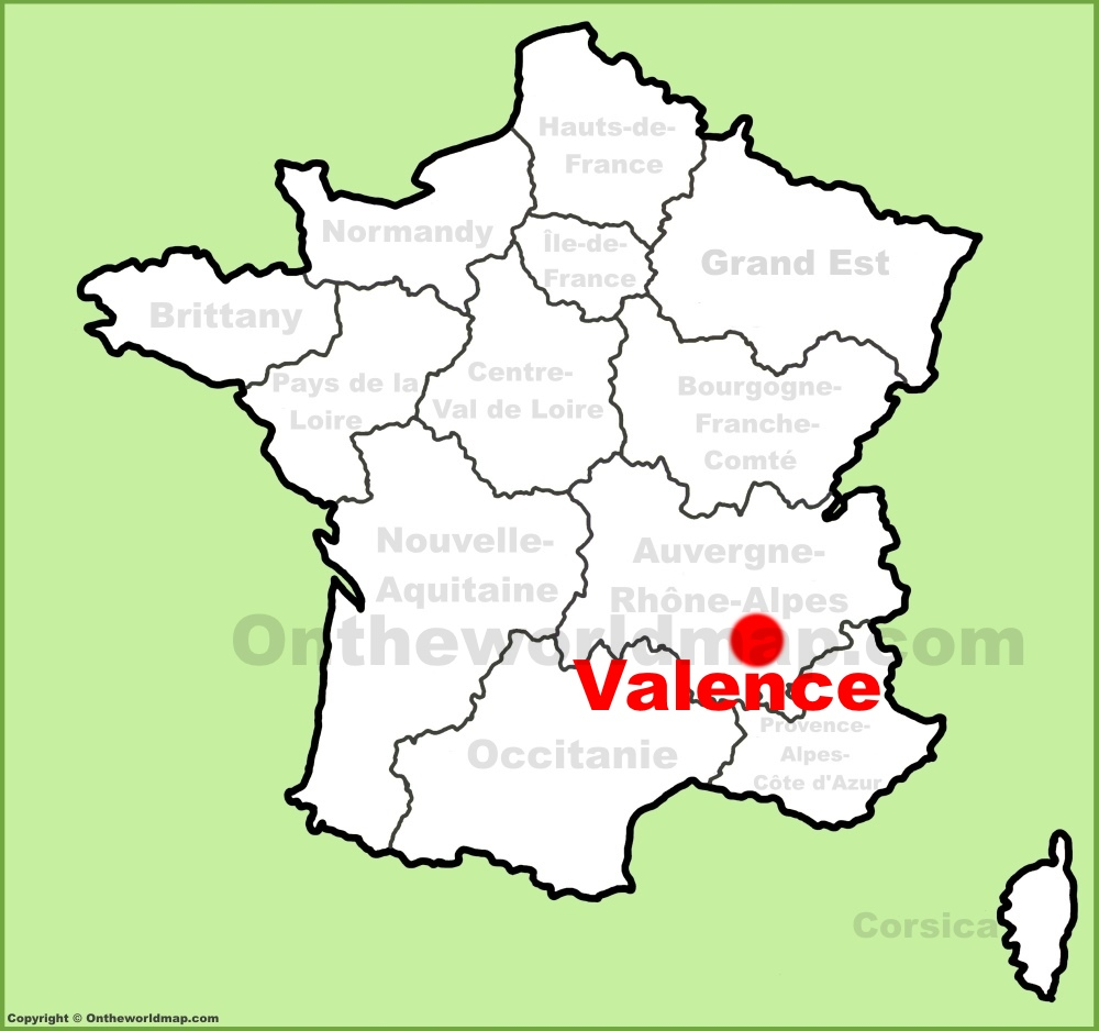 Valence location on the France map