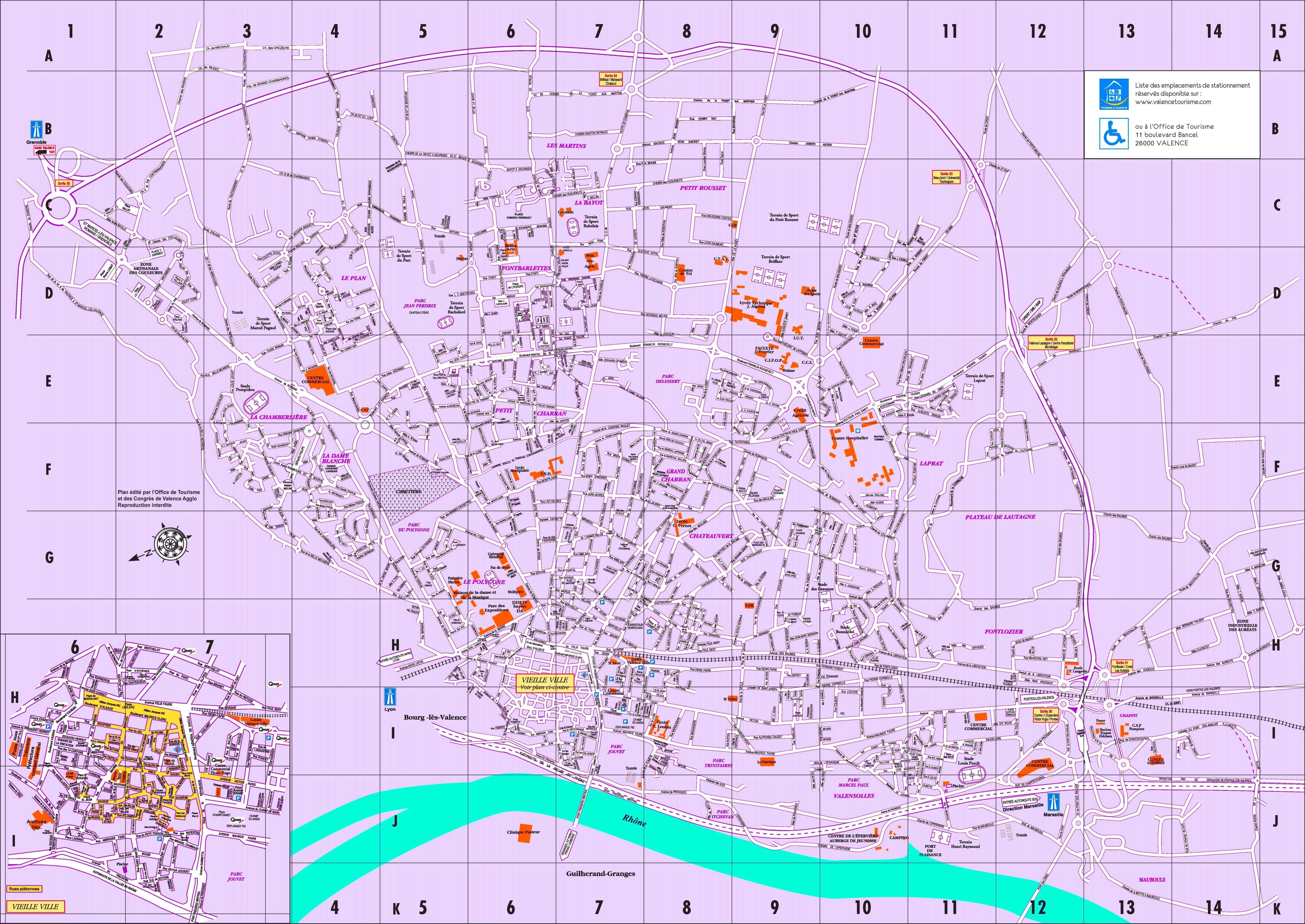 Valence tourist map