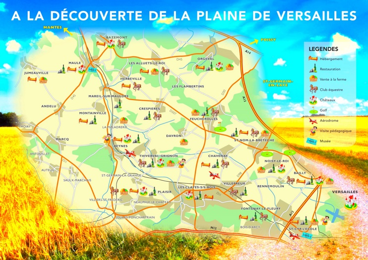 Versailles area tourist map