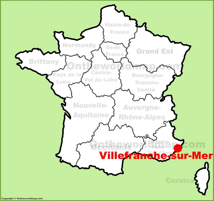 Villefranche-sur-Mer location on the France map