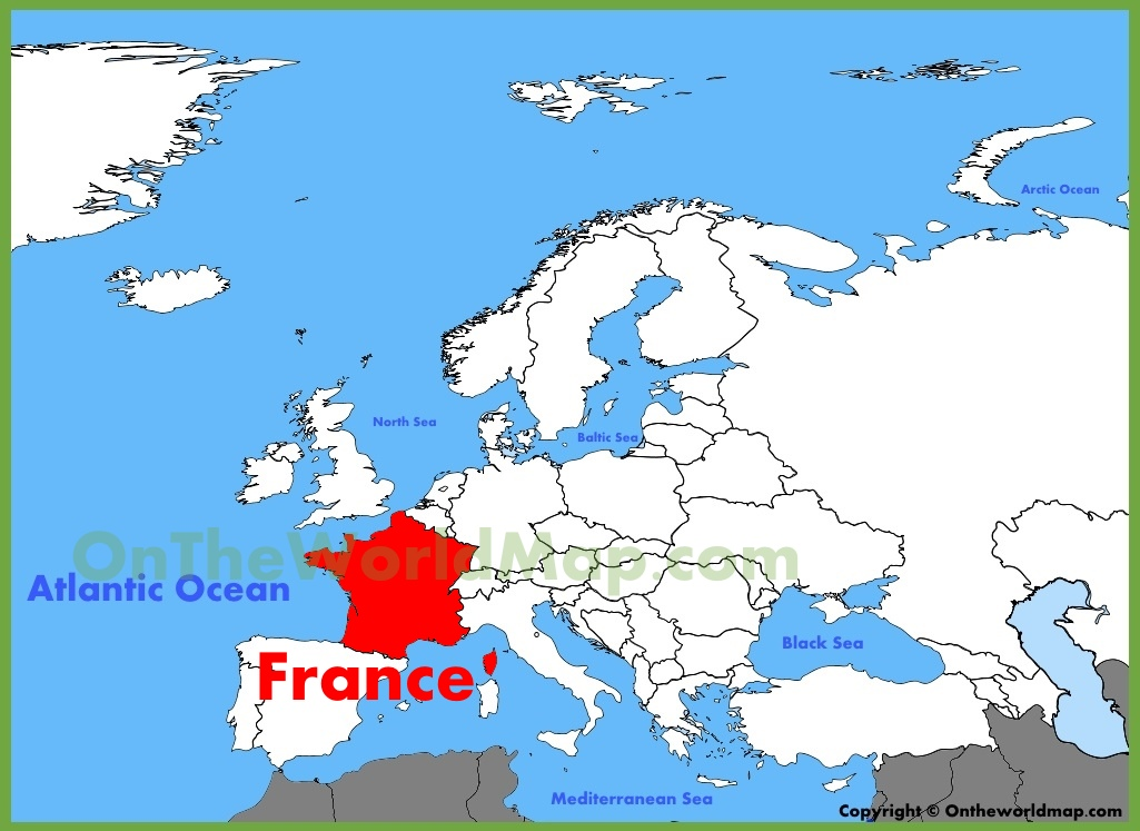 France On A Map Of Europe.France Location On The Europe Map