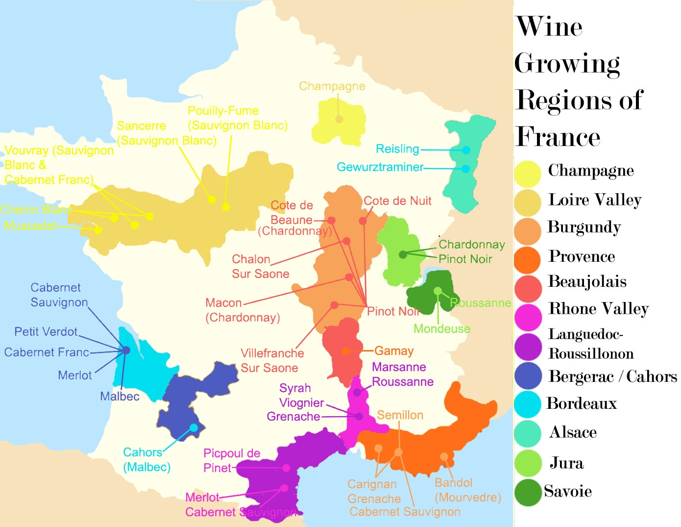 France wine regions map france wine regions map gumiabroncs Image collections