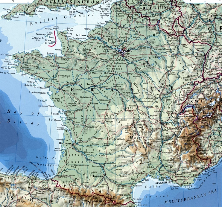 Large detailed map of France with cities
