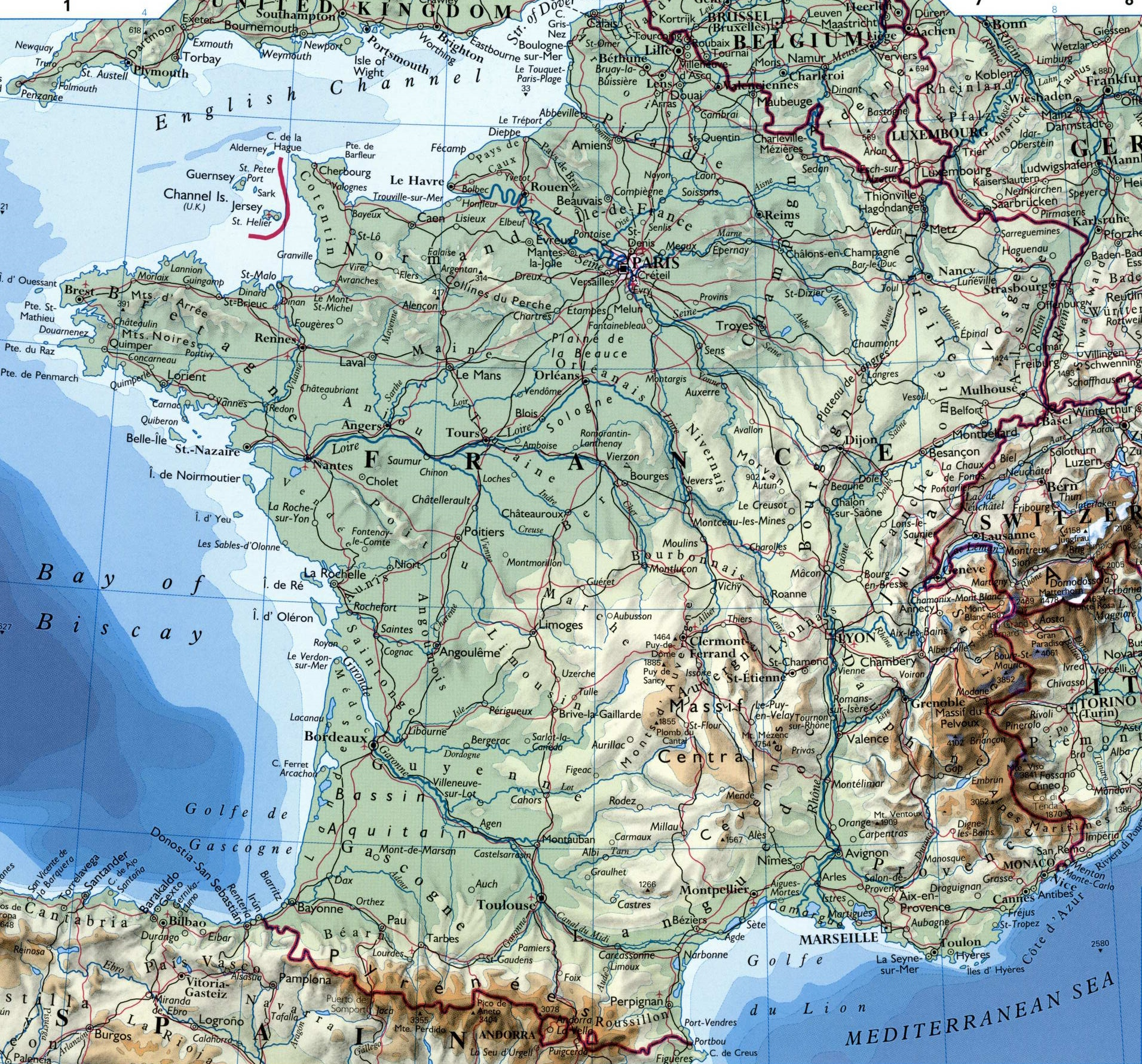 Large detailed map of france with cities for Map of france