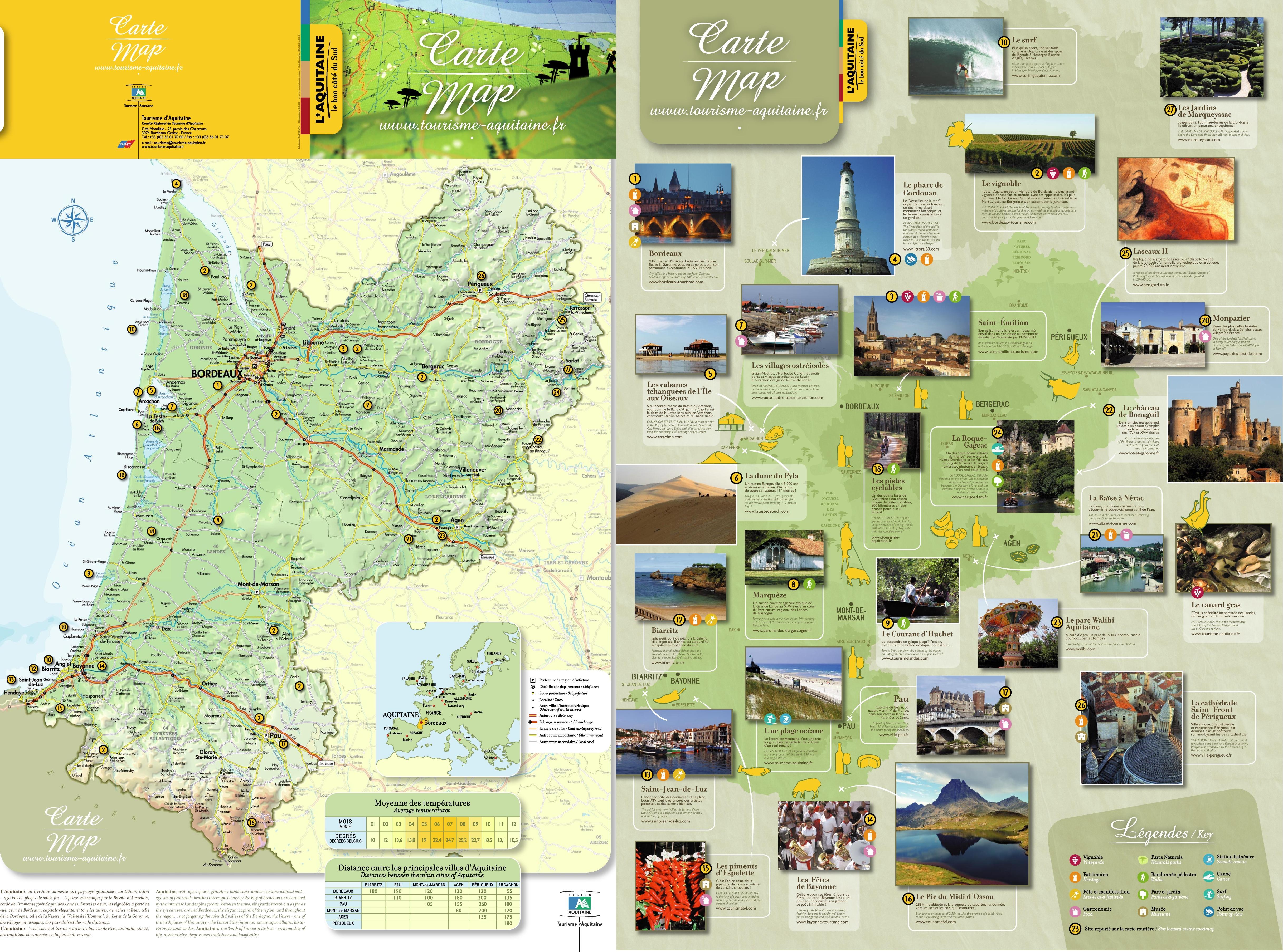 Aquitaine tourist map