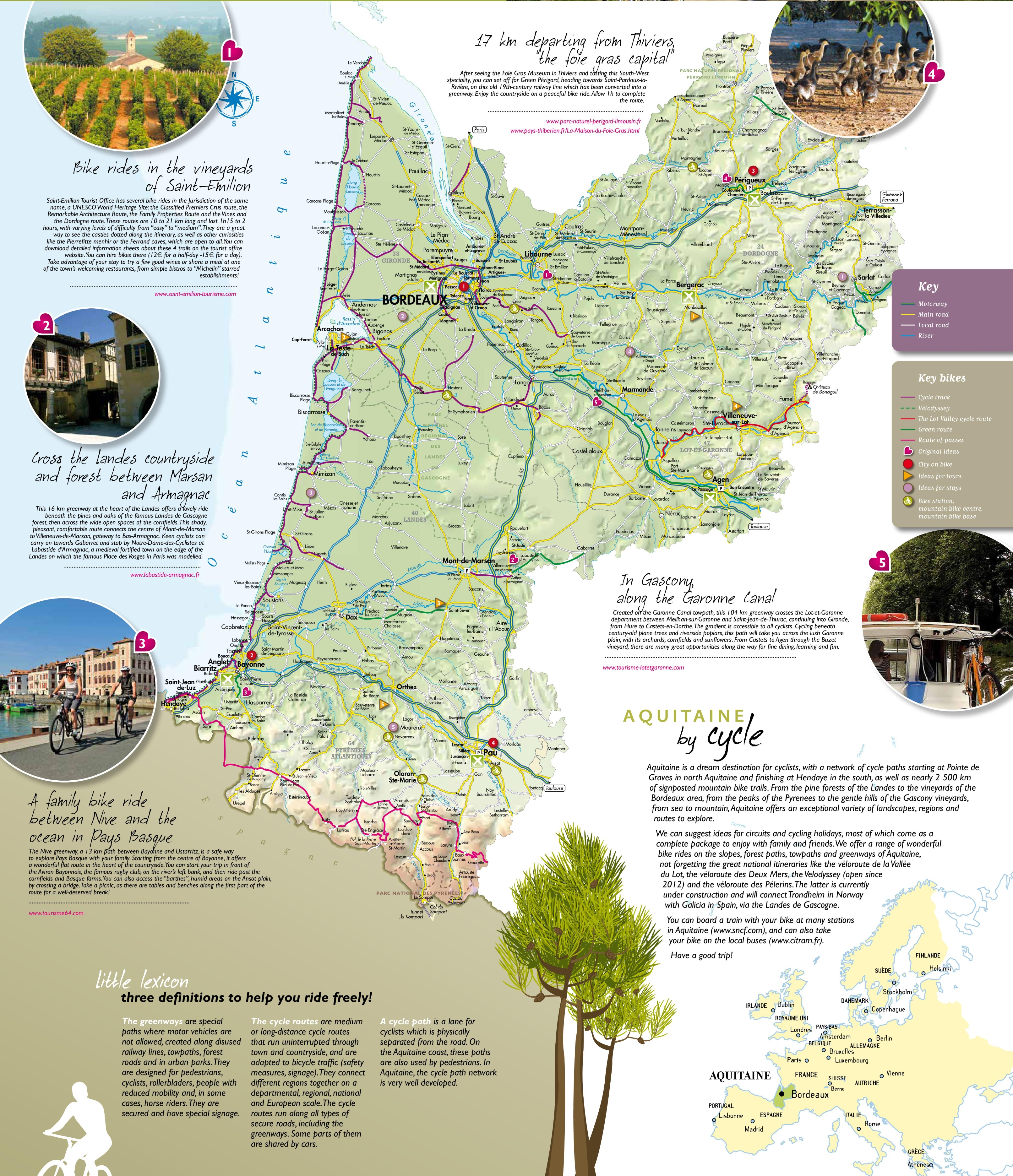 Large detailed map of Aquitaine
