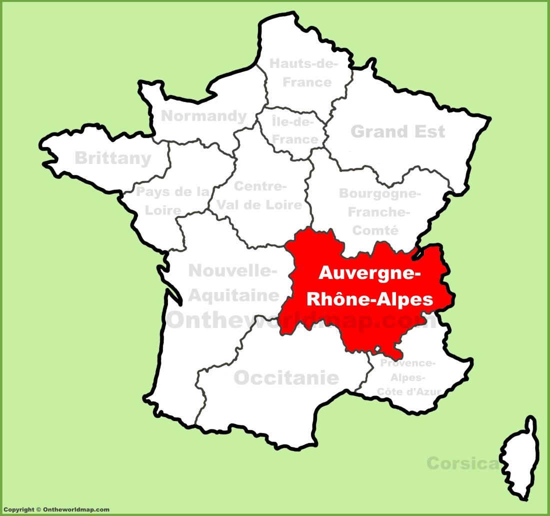 Auvergne-Rhône-Alpes location on the France map