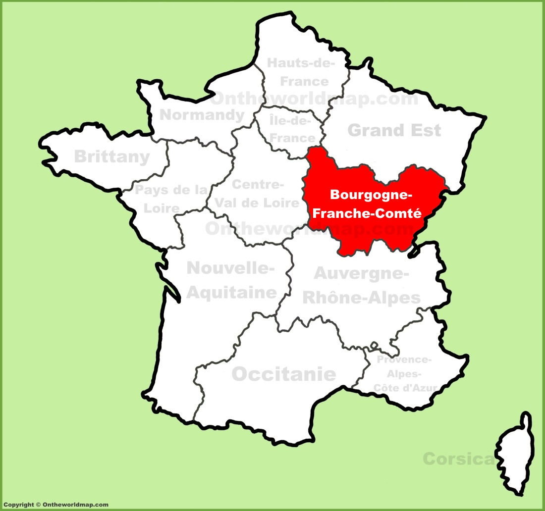 Bourgogne Franche Comté location on the France map