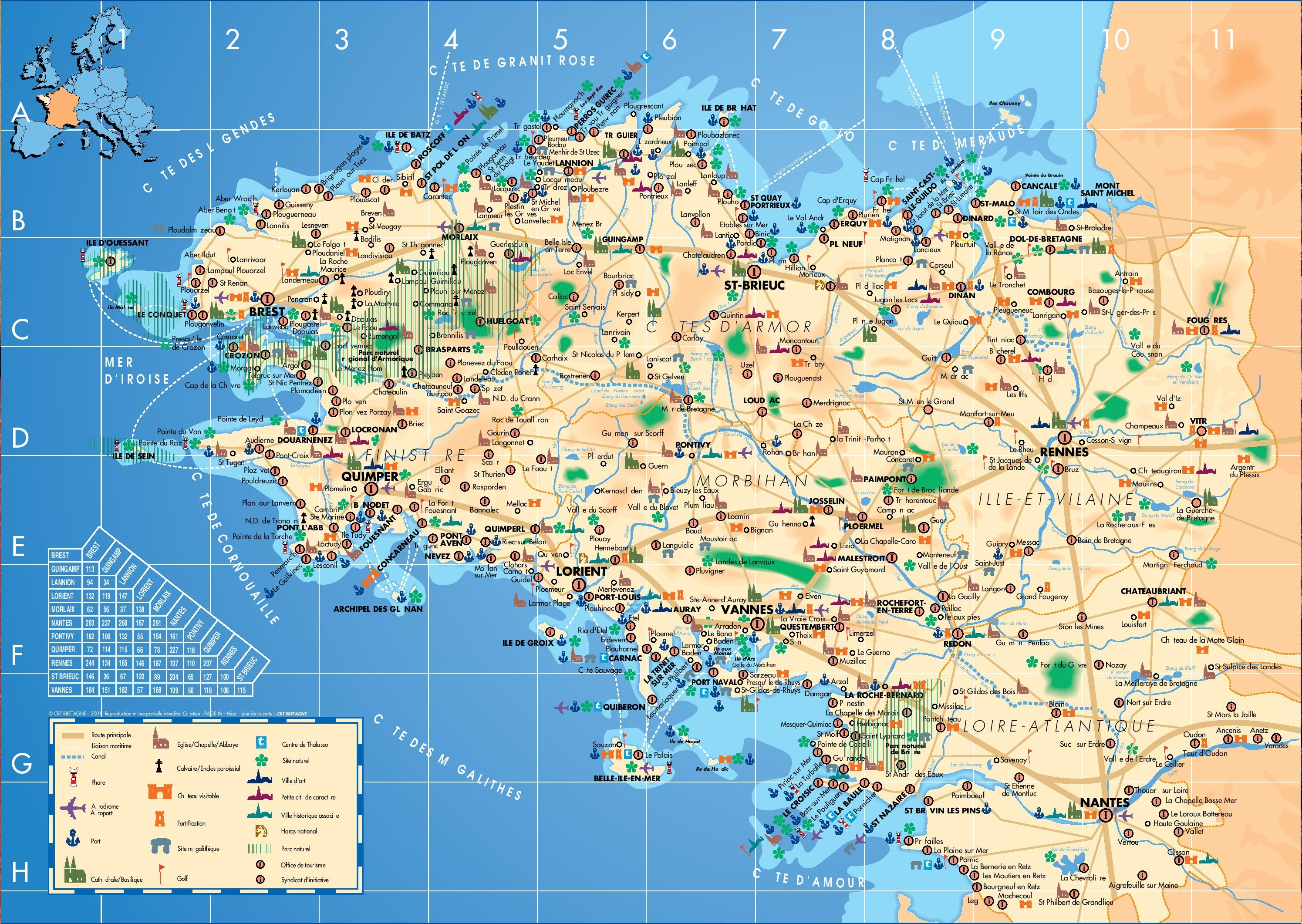 Brittany tourist map