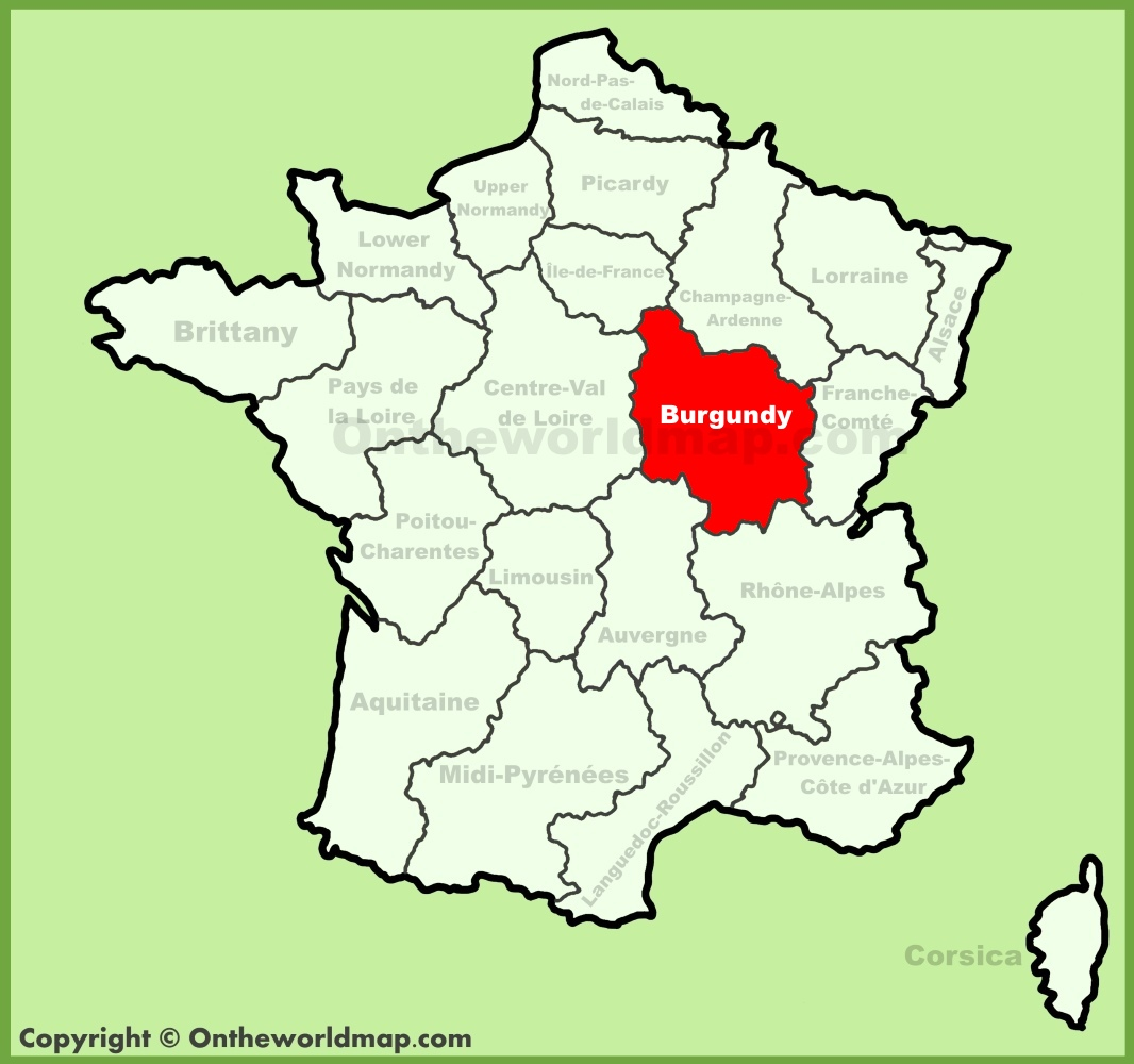 Burgundy location on the France map