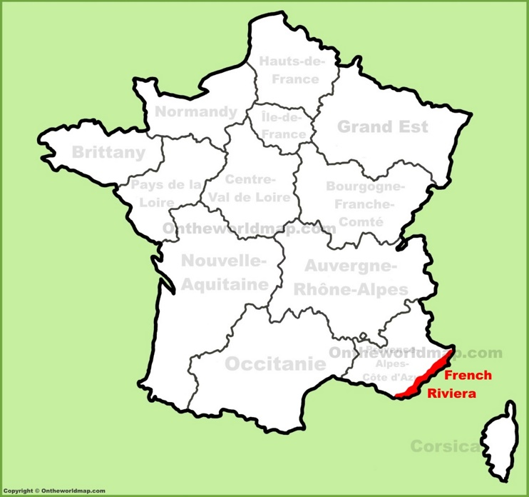 French Riviera location on the France map