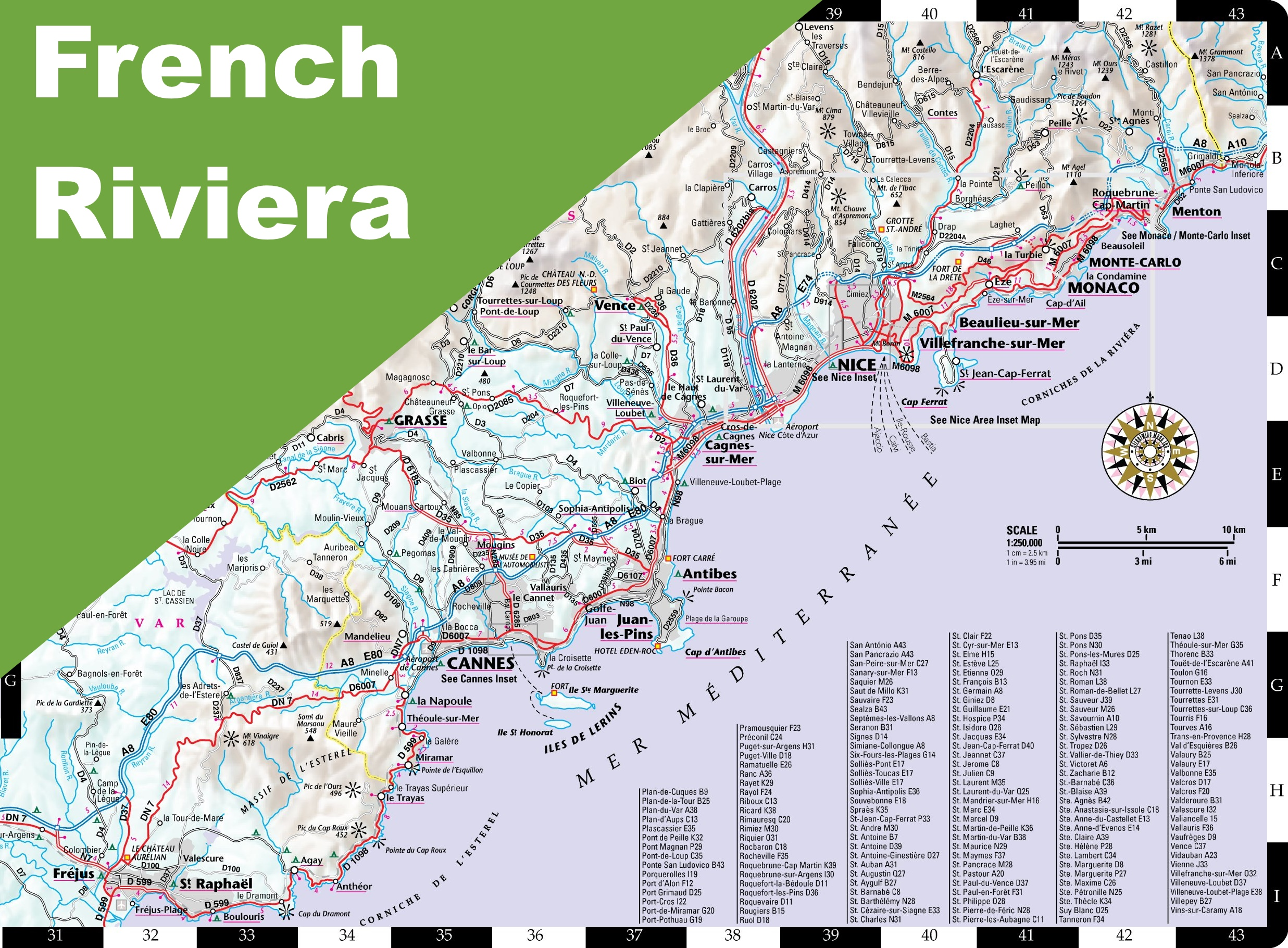French Riviera road map