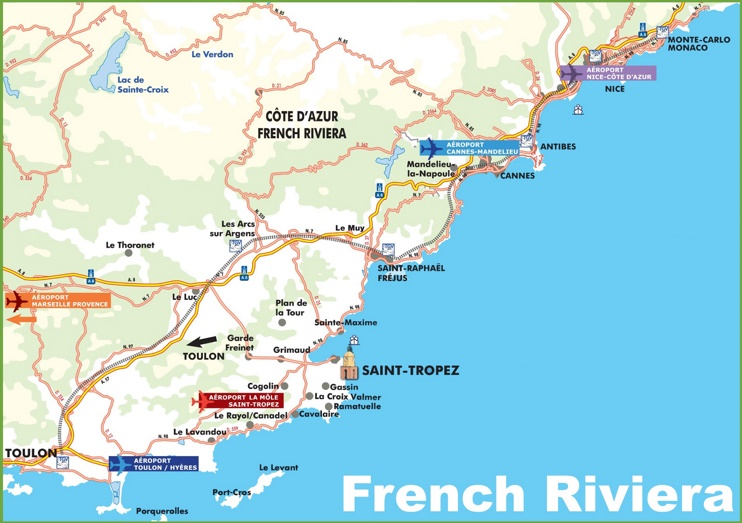 Map of French Riviera with cities and towns