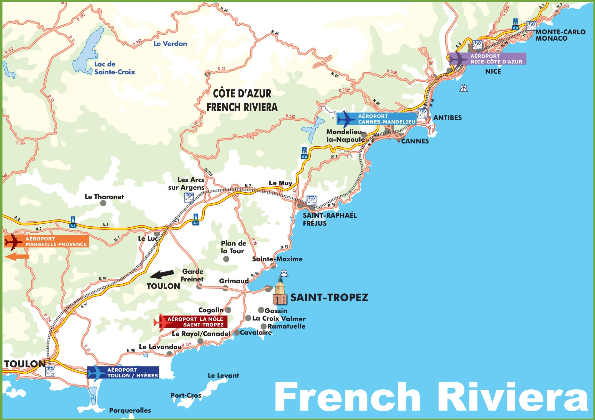 French Riviera Map French Riviera Maps | France | Maps of French Riviera (Côte d'Azur) French Riviera Map