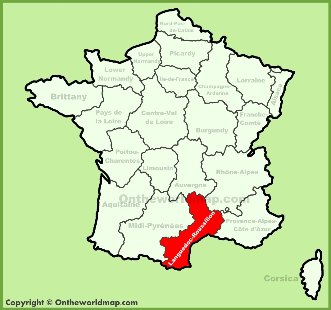 Roussillon France Map.Languedoc Roussillon Location On The France Map