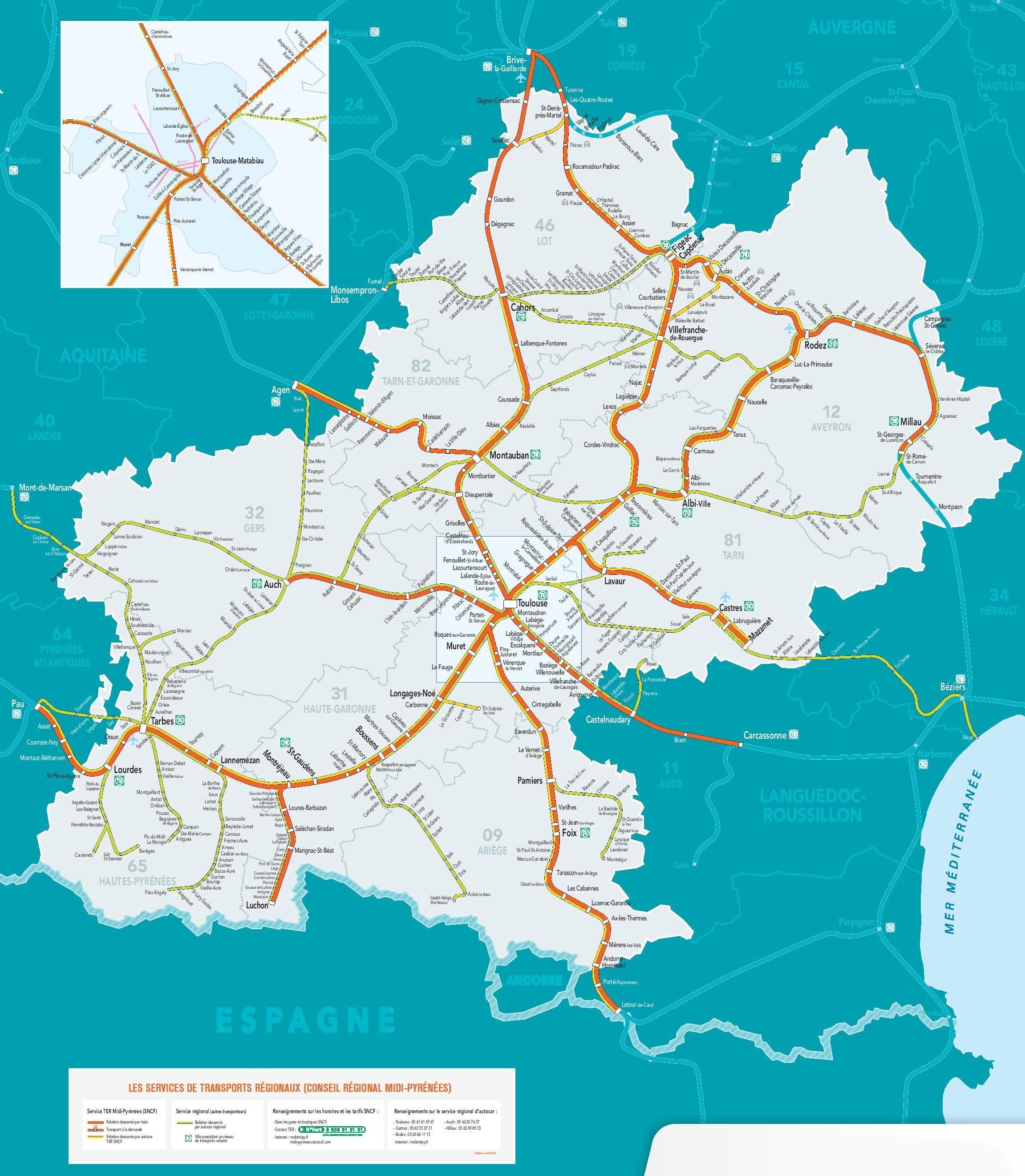Rail Map Of France.Midi Pyrenees Rail Map