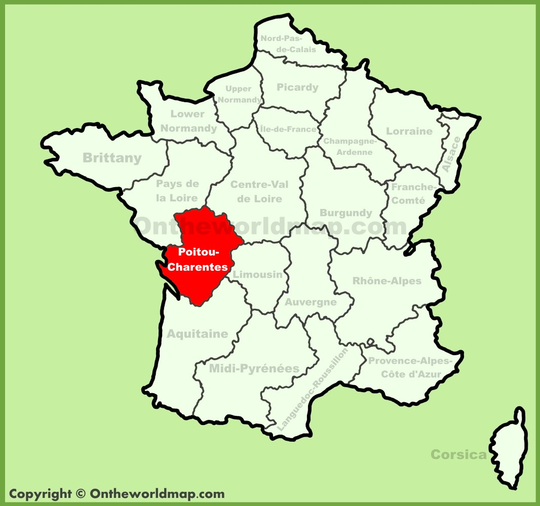 Poitou France Map.Poitou Charentes Location On The France Map
