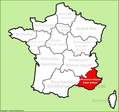Provence-Alpes-Côte d'Azur Location Map