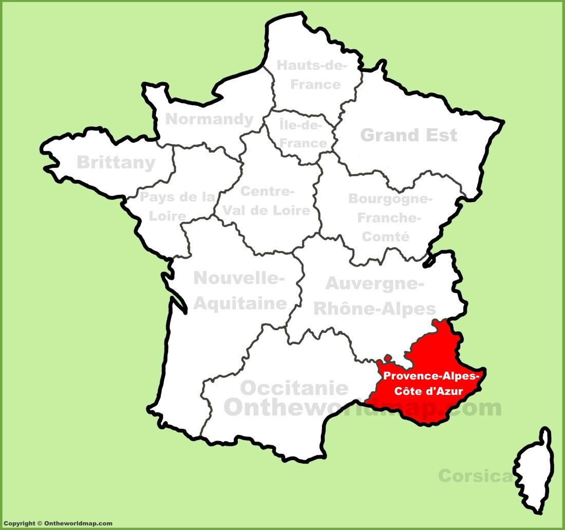 Map Of Cote D Azur Provence Alpes Côte d'Azur location on the France map Map Of Cote D Azur