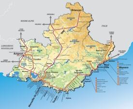 Provence-Alpes-Côte d'Azur rail map