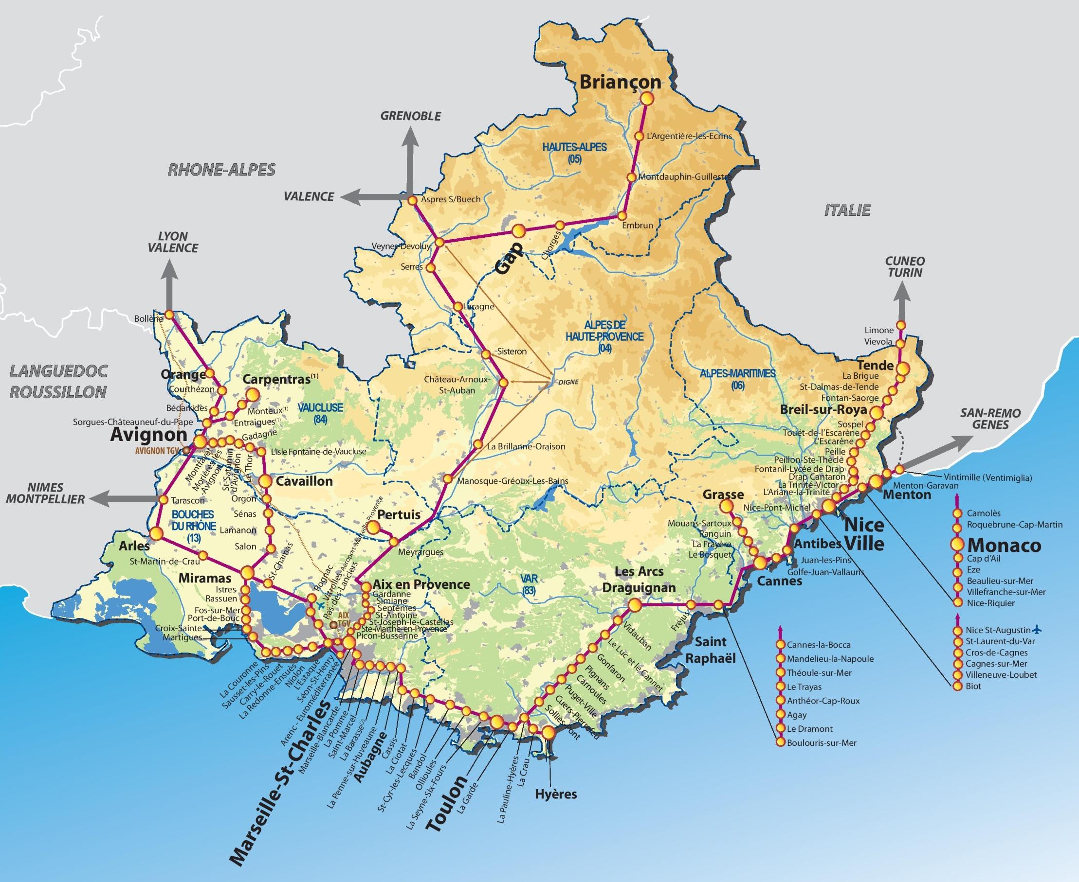 Map Of Cote D Azur Provence Alpes Côte d'Azur rail map Map Of Cote D Azur
