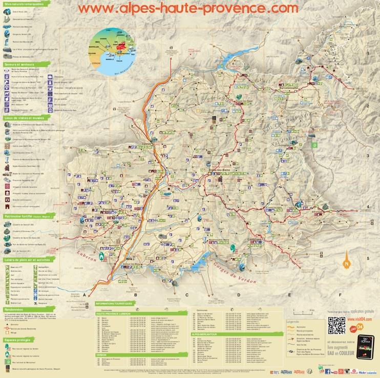 Alpes-de-Haute-Provence tourist map