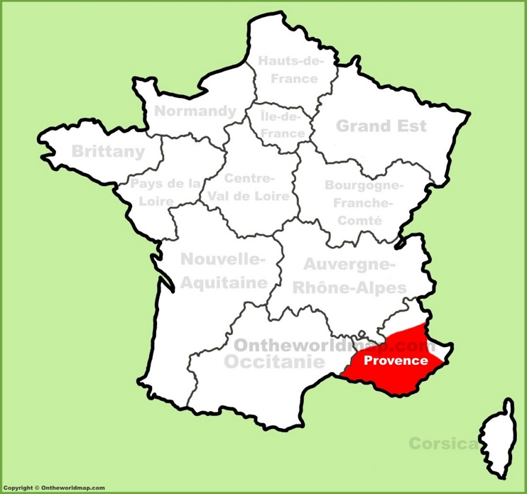Provence location on the France map