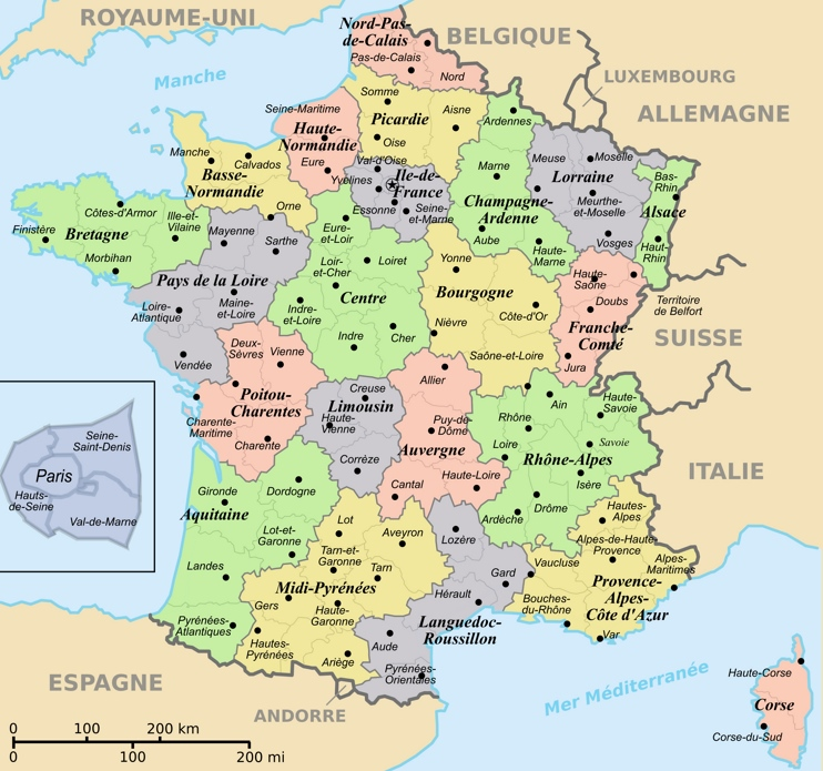 Regions and departements map of France