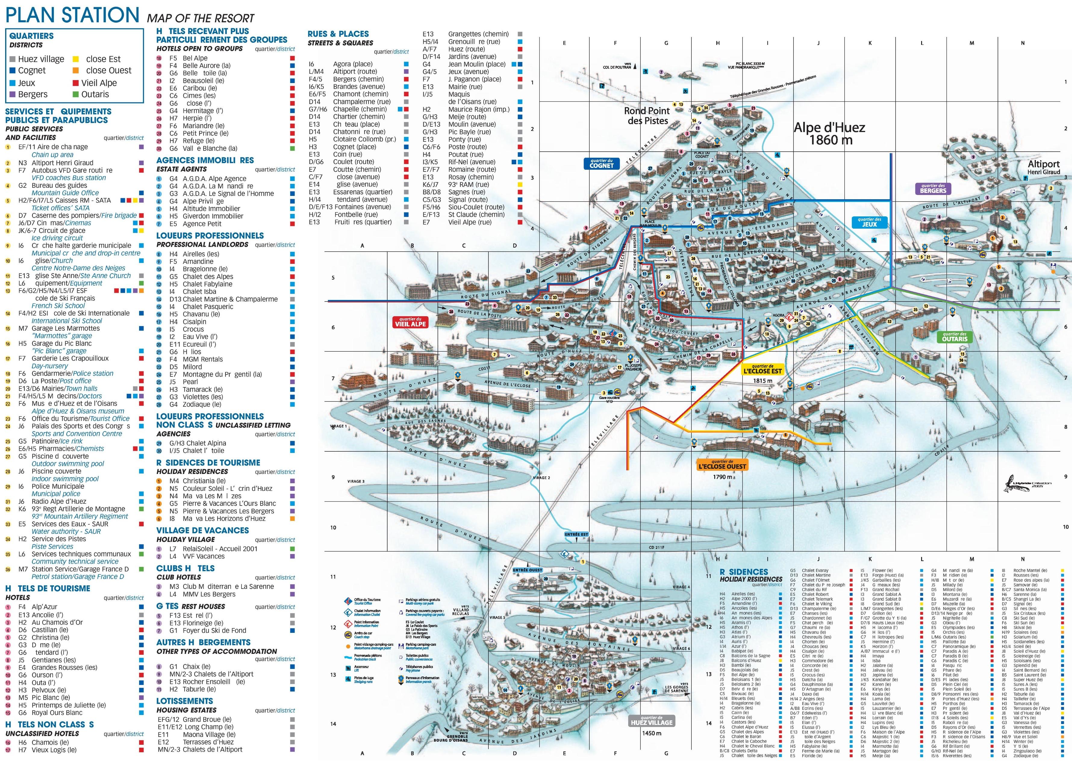 Alpe dHuez hotel map