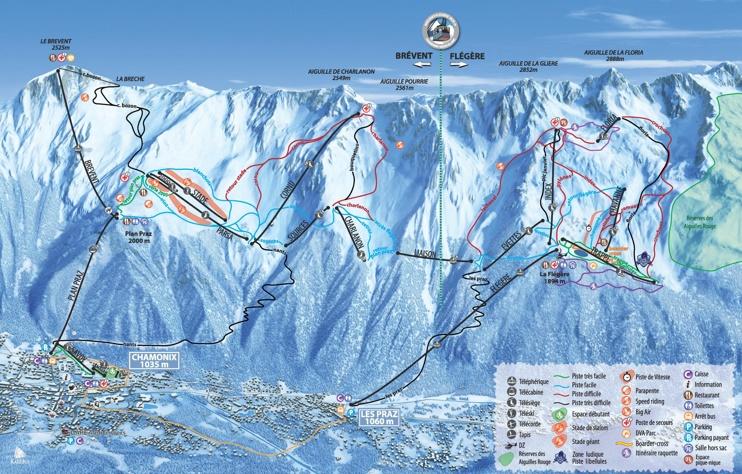 Brevent and Flegere piste map