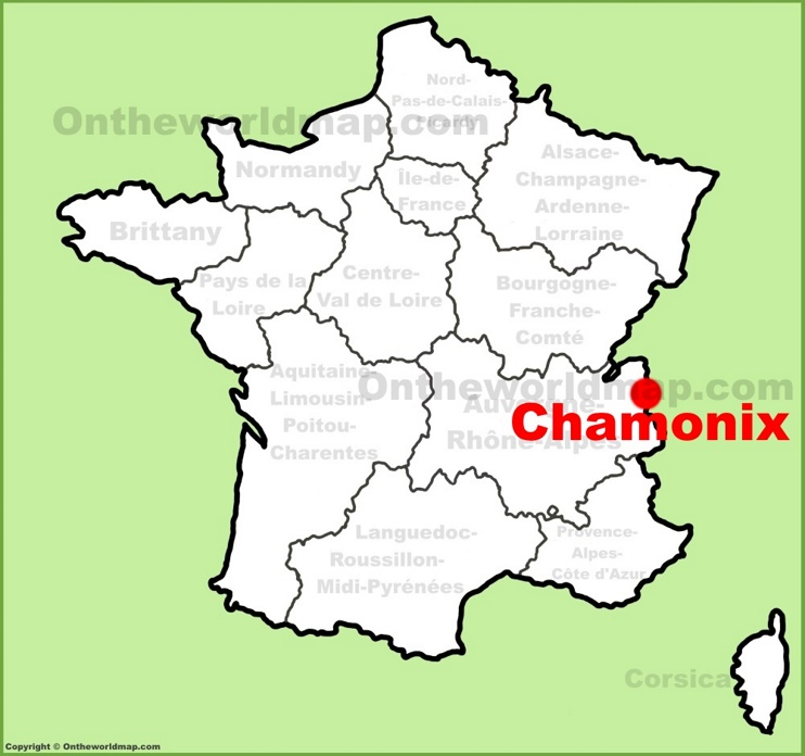 Chamonix location on the France map