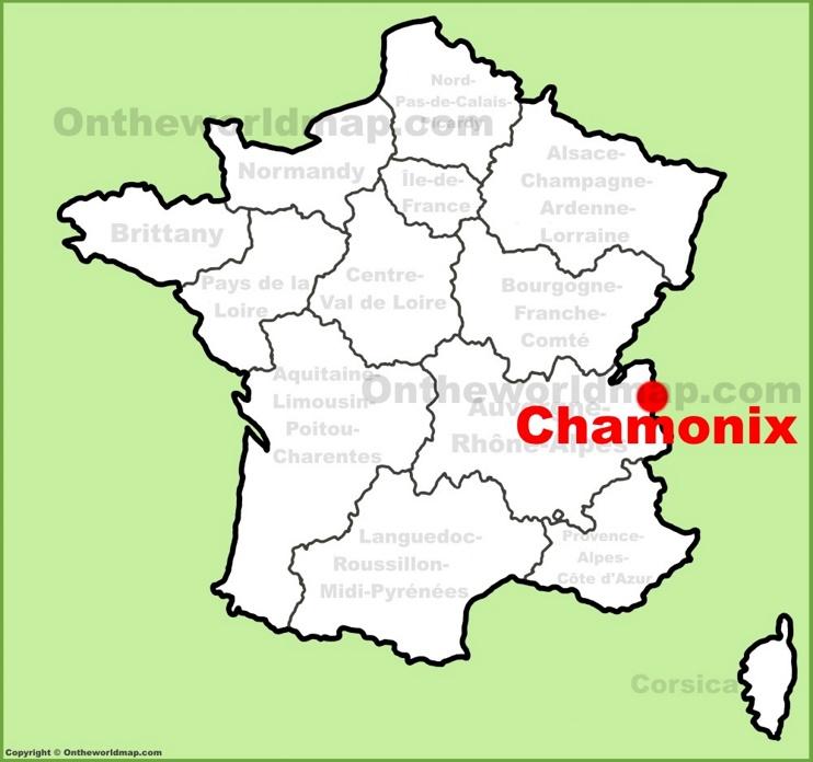 Chamonix location on the France map