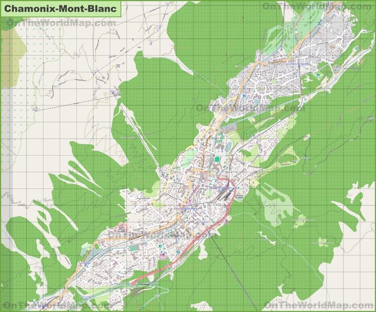 Large detailed map of Chamonix