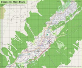 Large detailed map of Chamonix