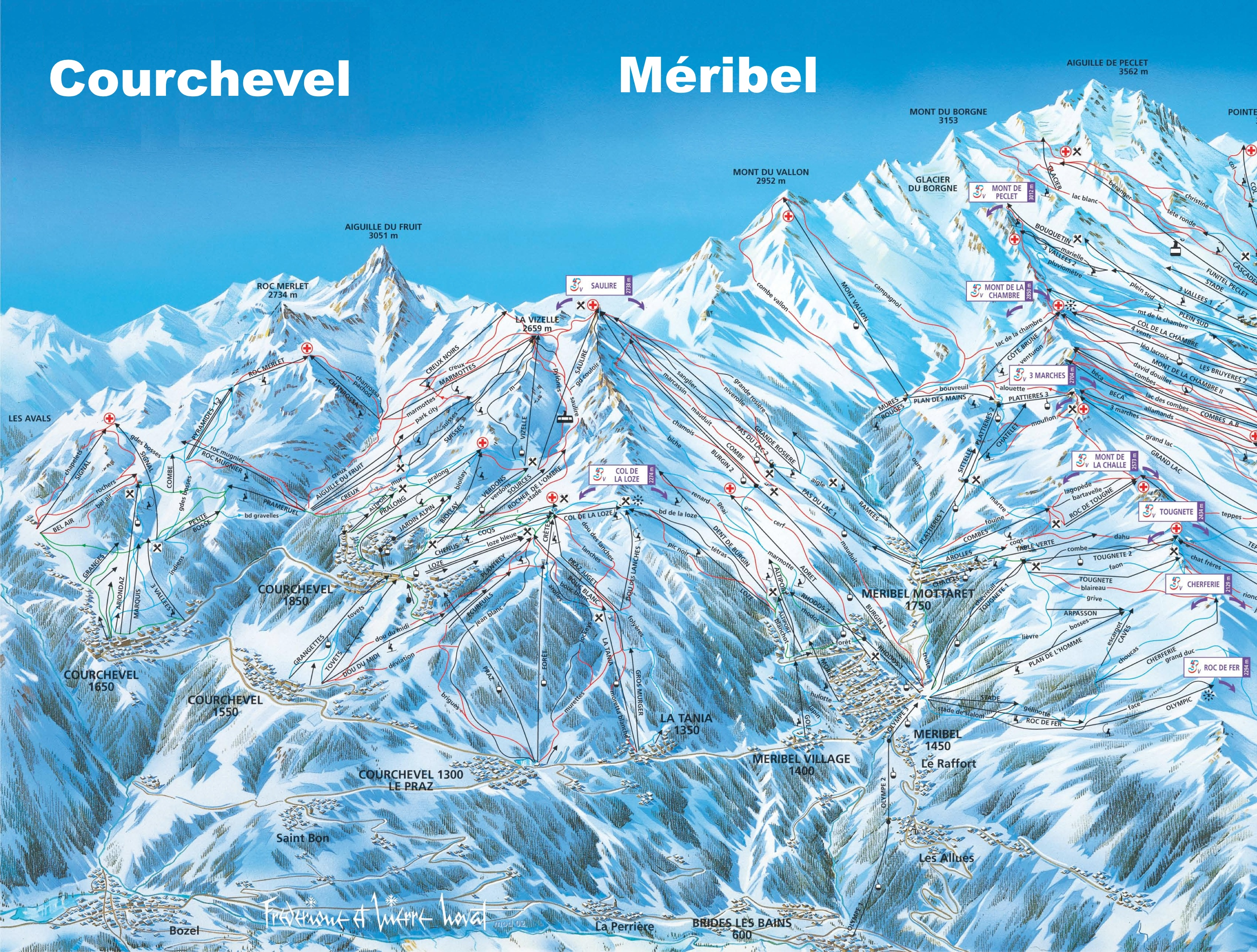 Courchevel and Meribel ski map