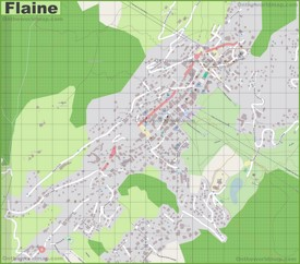 Large detailed map of Flaine