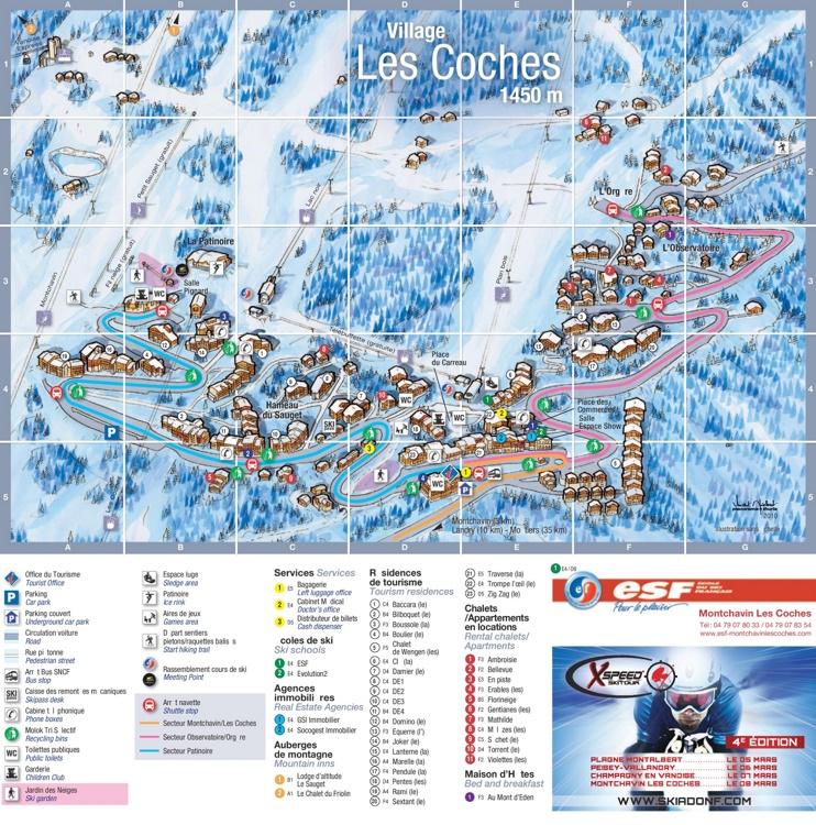 Les Coches ski map