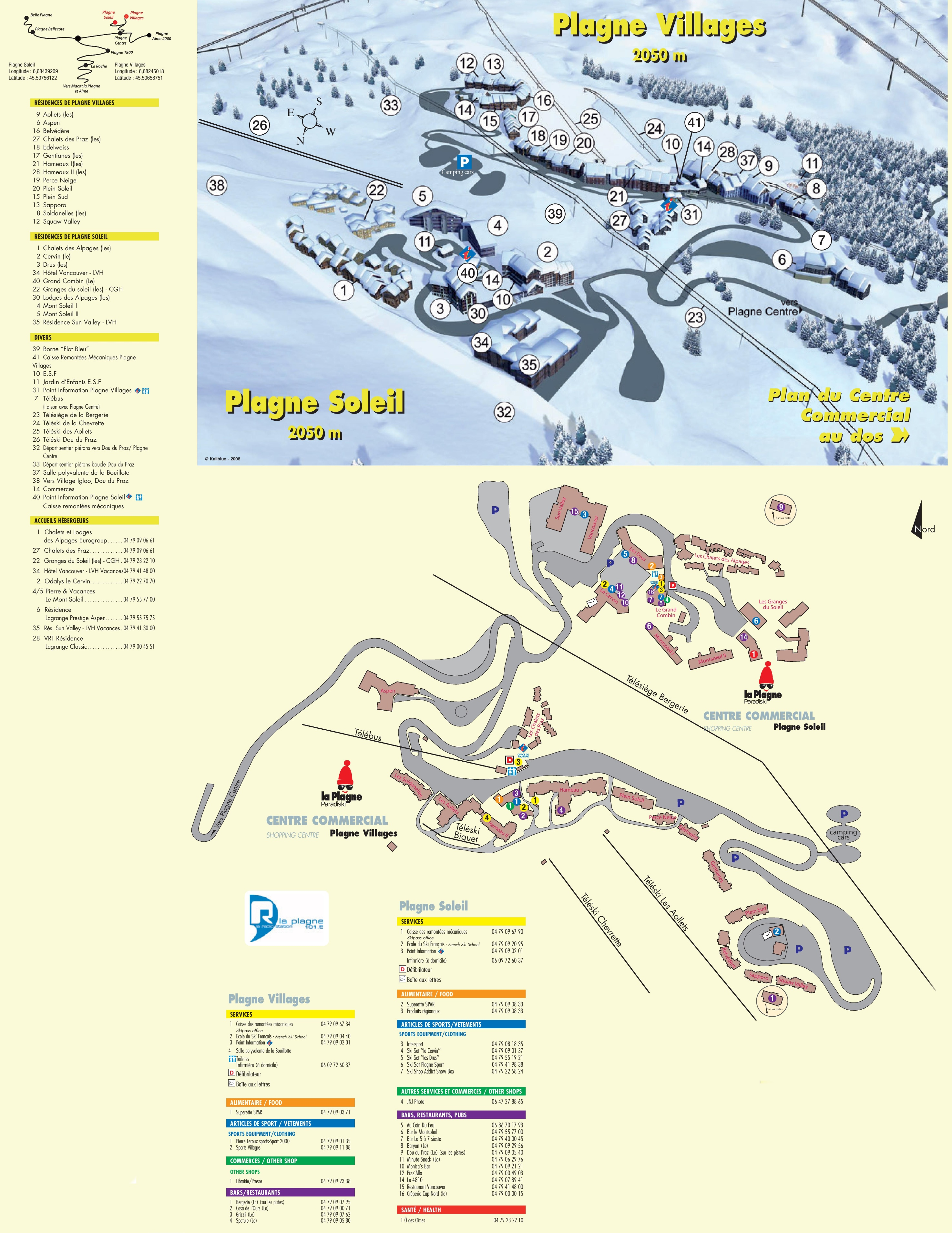 Plagne Soleil Villages map