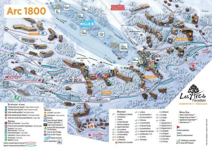 Les Arcs 1800 map