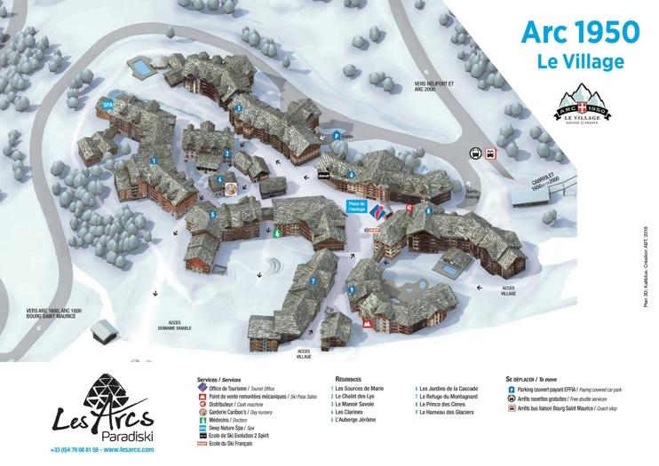 Les Arcs 1950 map