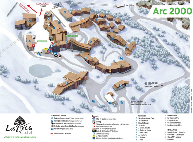 Les Arcs 2000 map