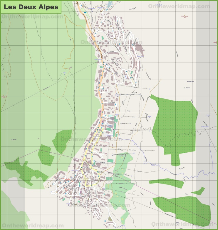 Large detailed map of Les Deux Alpes