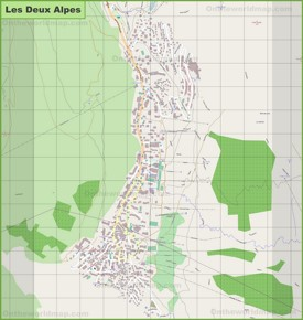 Large detailed map of Les Deux Alpes