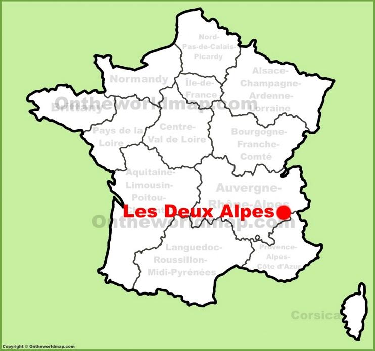 Les Deux Alpes location on the France map