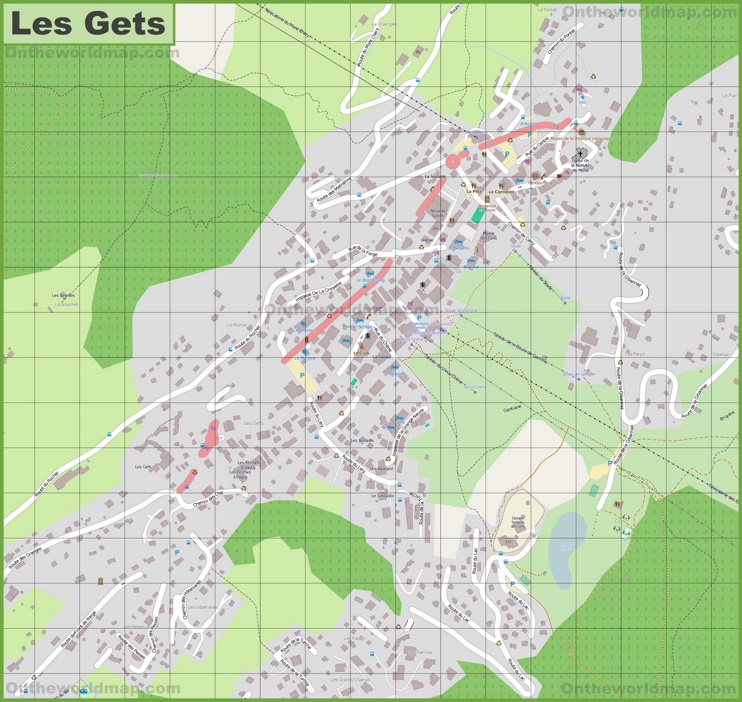 Large detailed map of Les Gets