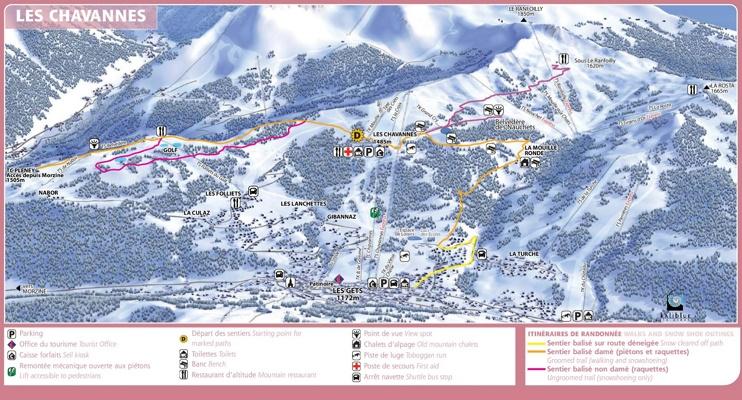 Les Gets - Les Chavannes map