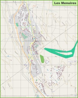 Large detailed map of Les Menuires